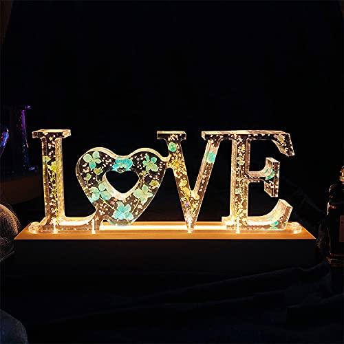 Lámpara De Noche Con Letras Personalizadas, Nombre De La Lámpara Led De Cristal De Flores Secas, Luz De Noche Del Alfabeto Con Iluminación Usb, Decoración, Regalo De Cumpleaños(style8,14.5×6×9.5cm)