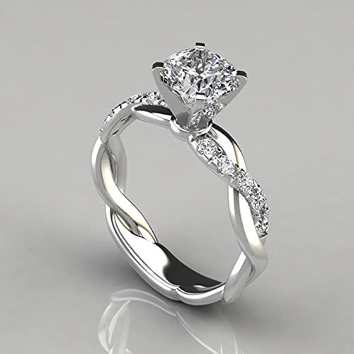 SONGK Anillos de Compromiso clásicos para Mujer Circón cúbico Blanco Alianza de Boda con Diamantes de imitación para Mujer Anillos CZ Joyería