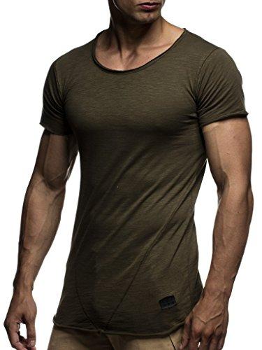 Leif Nelson Herren Sommer T-Shirt Rundhals-Ausschnitt Slim Fit Baumwolle-Anteil Moderner Männer T-Shirt Crew Neck Hoodie-Sweatshirt Kurzarm lang LN6281 Khaki Medium