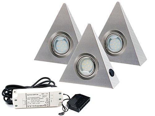3er Set LED Dreieckleuchte Unterbauleuchte Küchenleuchte EDELSTAHL 2.5W Warmweiß mit Zentralschalter