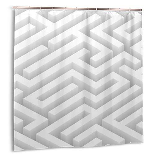 N/A - Cortina de ducha con ganchos, impermeable, resistente al moho, antibacteriana, 12 ganchos, 183 x 183 cm (laberinto)