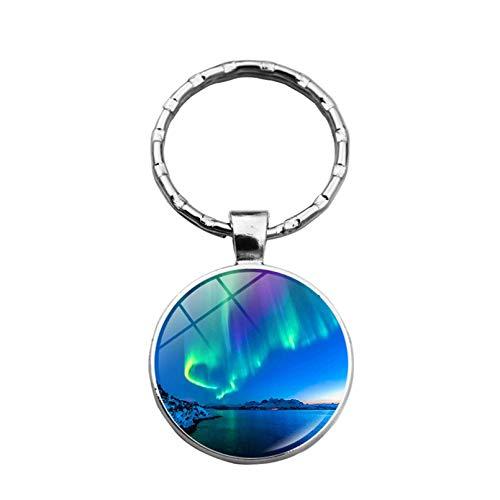KANGDE 1pc Nordlichter Aurora Schlüsselbund Schlüsselanhänger Anhänger Metall Cabochon Schlüsselbund Zubehör Geschenk