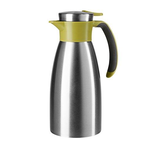 Emsa 512575 Isolierkanne, Edelstahl, 1 Liter, Quick Tip Verschluss, 100% dicht, Grün, Soft Grip