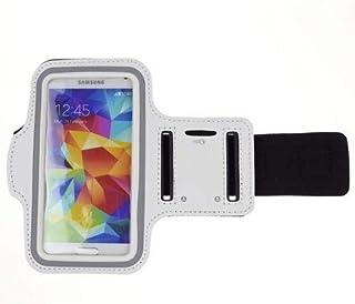 حقيبة حزام ذراع للركض من مارغون سبورتس مع حامل مفاتيح متوافق مع HTC U11, U Playy, U Ultra باللون الأبيض