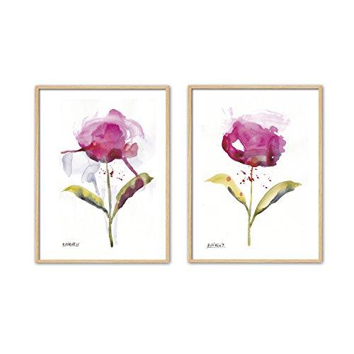 Cuadriman Natura Set de 2 Tableaux Fleurs, Bois, Rose et Vert, 47 x 32 cm, 2 unités