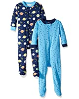 GERBER Baby Boys 2-Pack Footed Unionsuit, Outer Space, 6 Months