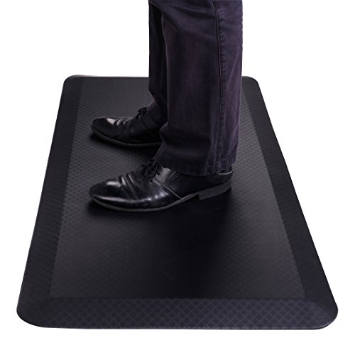 FlexiSpot Standing Desk Mat 20 in x 39 in Non-Slip Comfort Pad Kitchen Floor Mat Cushioned 3/4' Anti-Fatigue Mats for Standup Desks Kitchens Garages, Black