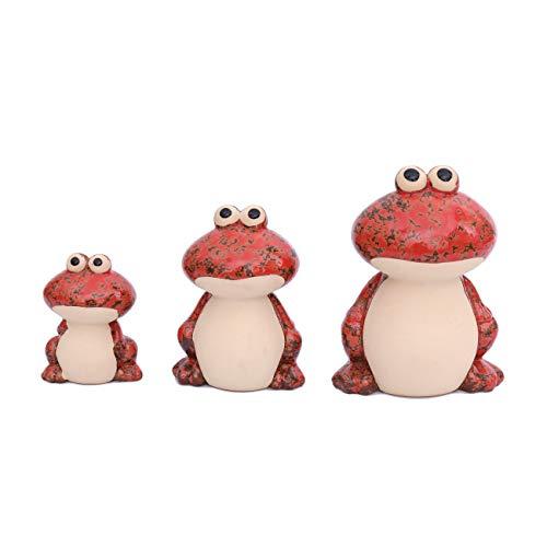 Flanacom Dekofiguren Set aus Keramik - Tierfiguren für Innen und Außen - Deko-Artikel für Wohnung & Garten - Tier Gartendeko Wohnzimmerdeko (Frosch 3er Set)