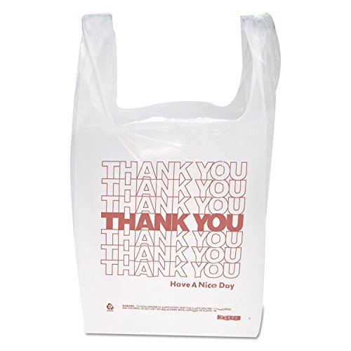 Inteplast Group THW1VALThank You Handled T-Shirt Bags, 11 1/2 x 21, Polyethylene, White (Case of 900), White/Red (IBSTHW1VAL)