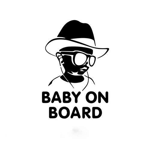 JKGHK Pegatinas de coche Envío de la gota Bebé a bordo Divertido Gafas de sol reflectantes Pegatinas de bebé y calcomanías Vinilo Car Styling 12x17cm-Negro_12X17cm
