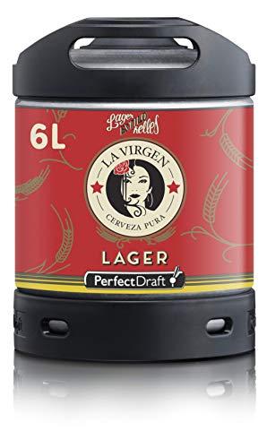 Cerveza PerfectDraft un barril de 6 litros de La Virgen Madrid Lager - Lager. Máquina de tiro casera. Incluye un depósito de 5 euros.