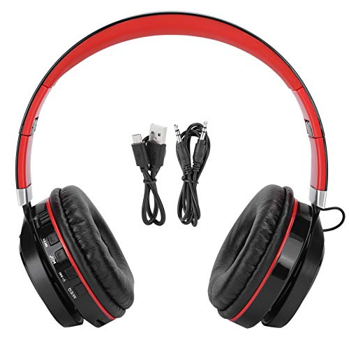 Socobeta Auriculares estéreo con ranura para auriculares Heavy Bass Red Folding Bluetooth Sports compatible con los dispositivos de reproducción Bluetooth habituales.