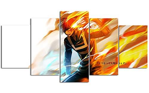 5 piezas de lienzo Boku no Hero Academia Pinturas decorativas 39.4 'x 19.7' Necesidades familiares Deben usarse con el marco
