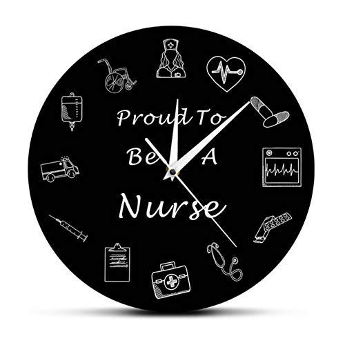 LYHZXC Wanduhr Krankenschwester Wanduhr Krankenschwester Krankenpflege Krankenhaus Art-Deco-Uhr-A
