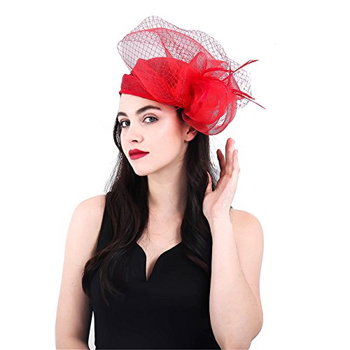 Yiwuhu Frauen Eleganter Fascinator Hut Frauen Braut Fascinator Blume Kappe Feder Kopf Clip Cocktail Teeparty Bankett Royal Ascot