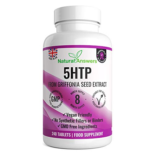 5HTP – 400mg Griffonia Seed Extract – 240 Vegan Tablets – 8 Months Supply of High Strength 5-HTP Griffonia Seed Extract – Made in The UK