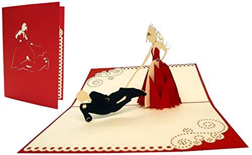 """LIN - POP UP 3D Karten \""""Hochzeit\"""", Hochzeitskarten, Hochzeitseinladungen, Glückwunschkarten Hochzeit, Junggesellenabschied, N239"""