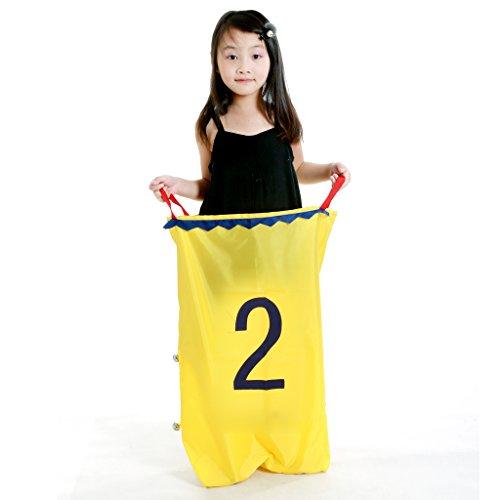 perfeclan Niños Adultos Unisex Saco de Salto Carrera de Espalda Juguete Deportes Al Aire Libre Entrenamiento de Equilibrio - Amarillo 2