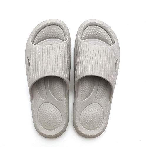 CCJW Sandalias de ducha antideslizantes para casa, baño de baño antideslizante para masaje de pies, par de zapatillas de plataforma, gris claro, 42-43, sandalias para mujer con puntera abierta kshu