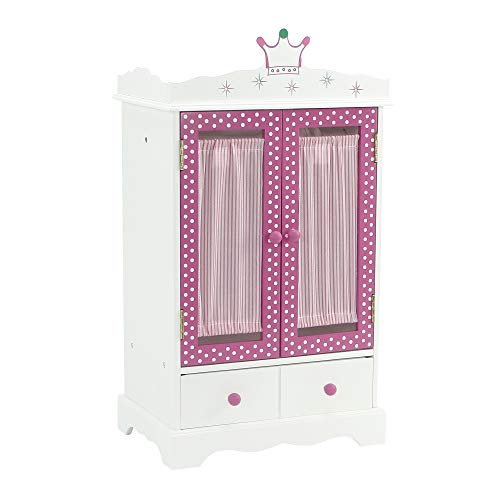 18 Inch Doll Closet for My Life Doll Clothes - Wish Crown | Doll and Small Pet Clothes Storage | Doll 18' Clothes Wardrobe | Doll Armoire 18 | Fits 18' American Girl and My Life Doll Clothes