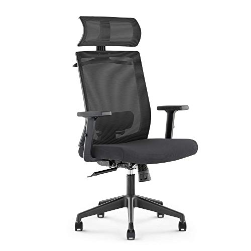 DR.PHY Ergonomic Office Recliner Chair, High-Back Desk Chair Racing Style with Lumbar Support, Height Adjustable Seat, Headrest- Breathable Mesh Back - Soft Foam Seat Cushion