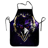 NiYoung Kitchen Apron Bib Aprons Women Men Professional Chef Aprons with Extra Long Ties - Baltimore Ravens Football Team, Water Resistant Waiter Hostess Apron for Salon BBQ