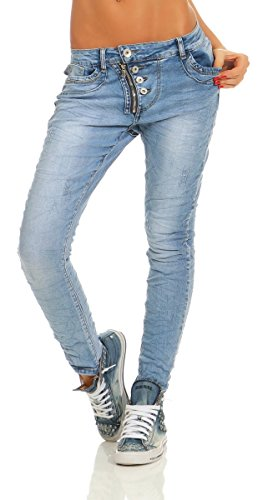 Fashion4Young 11105 Damen Jeans Hose Boyfriend  Blau
