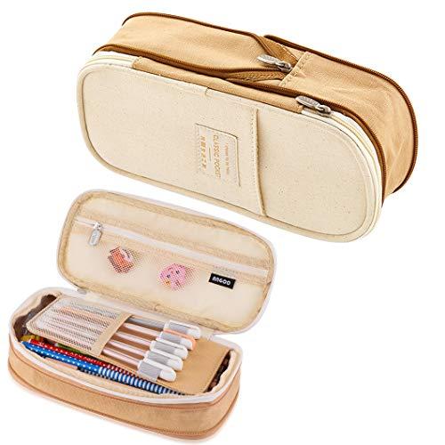Rolin Roly Mäppchen große Kapazität Federmäppchen Canvas StiftTasche Erweiterbarer Stiftbeutel Briefpapier Bleistiftbox Pencil Case Makeup Faltbare Tasche mit Reißverschluss