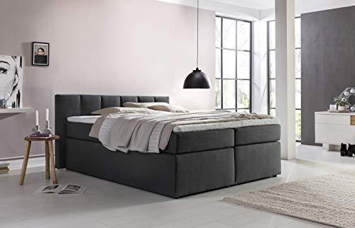Furniture for Friends Boxspringbett Valina 180x200 cm Anthrazit H2/H3 inkl. Visco-Topper, Taschenfederkern-Matratze, ideal für Dachschrägen, Kopfteilhöhe 90 cm