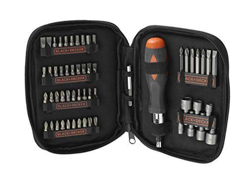 BLACK+DECKER A7104-XJ - Kit para atornillar 56 piezas, incluye destornillador tipo carraca
