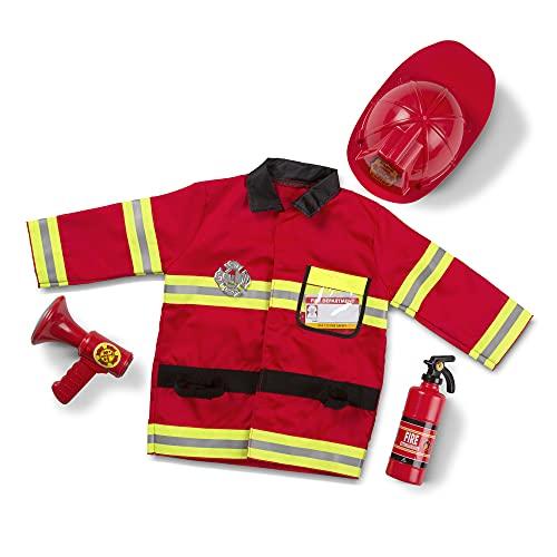 Melissa & Doug - Costume da Capo Pompiere, Vigile del Fuoco per Bambini, Gioco Simbolico o di Finzione per Bambini, Gioco di Ruolo 3+ anni