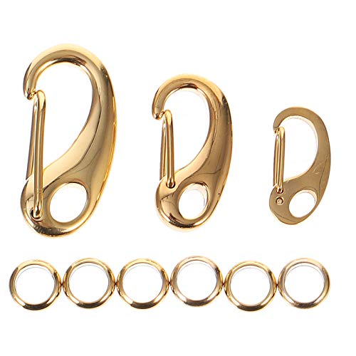 Balacoo 3Pcs Pet Tag Quick Clip Stainless Steel Sping Load Hook with 6Pcs Rings for Pet ID Tags Keychain Buckles Harnesses Gold