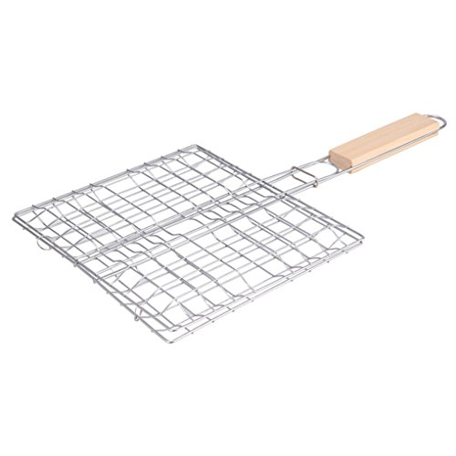 nobrand BBQ Barbecue Fish Grilling Basket Roast Meat Vegetable BBQ Tool with Wooden Handle