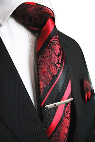 JEMYGINS Mode Blumen Krawatten und Einstecktuch mit krawattenklammer Sets für Herren, Rot, M