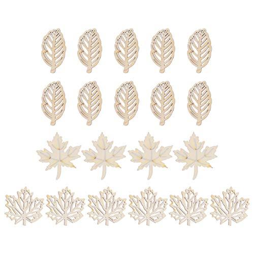 SUPVOX 40 piezas de hojas de madera en rodajas hojas de arce hueco recorte de madera sin terminar decoración de la boda adornos de scrapbooking doodle (patrón de hoja)