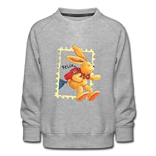 Spreadshirt Felix Der Hase Huepft Mit Schulranzen Kinder Premium Pullover, 110-116, Grau meliert