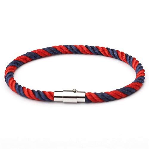 RJGOPL Mujer Macaron Color Pulseras de Pareja de Acero Inoxidable para Hombres Navy Style Charm Bracelet Jewelry Pulseras 21cm S003