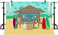 HD 7x5ftトロピカルビーチ誕生日背景ビニールキャビンパームブルースカイカラフルなサーフボードパーティーバナー写真ブース小道具BJLSPH251