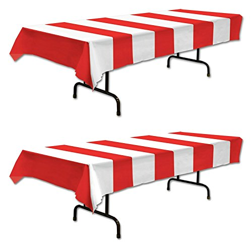 Red & White Stripes Tablecover Party Accessory (2 Count)