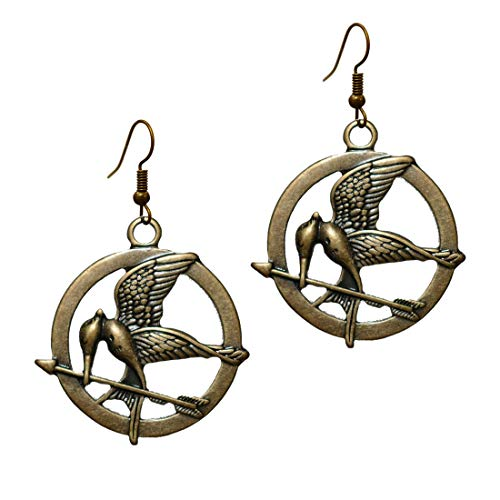 Stay Calm Gold Tone Vintage Birds -'MockingJay' Prop Rep Pin Antique Brass Colored Pendant Steampunk Dangle Earrings Inspired by Movie Replica Model for Women Lady Gifts Large (earring2009)