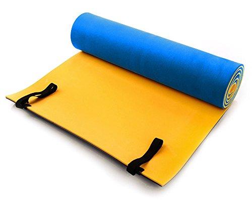 ABA colchoneta para Camping | Yoga Fitness Esterilla para Pilates | Espuma | 180x 50x 1cm, Amarillo y Azul