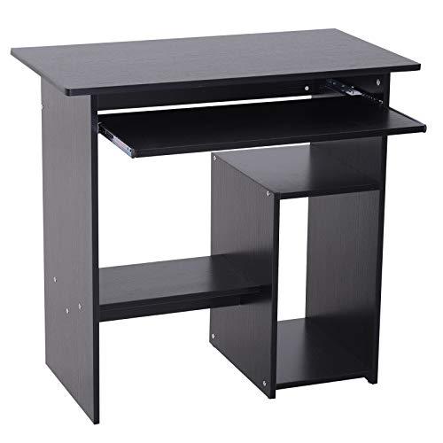 HOMCOM Computertisch, Schreibtisch, Bürotisch, Gamingtisch, Kinderschreibtisch PC-Tisch, Schwarz, 80 x 45 x 75 cm