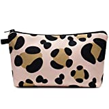 Makeup bag Cosmetic Bag Organizer Small Mini Makeup Pouch for Purse for Women Girls Gift (Brown Leopard)