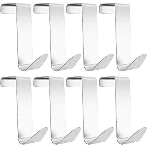 com-four® 8 Türhaken aus Edelstahl, Kleiderhaken ohne Bohren, 7,5 cm