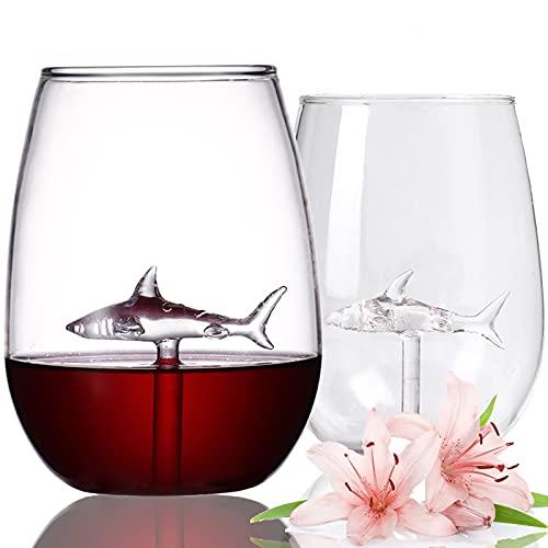 BSSN Copas de vino sin tallo Juego de 2 vasos de vino...
