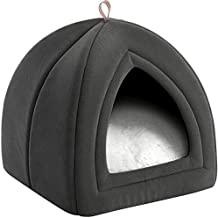 Bedsure Cat Beds for Indoor Cats - Cat House Cat Tent Cat Cave with Removable Washable Cushioned Pillow, Kitten Beds Cat Hut, Small Dog Bed, Dark Grey, 15 inches