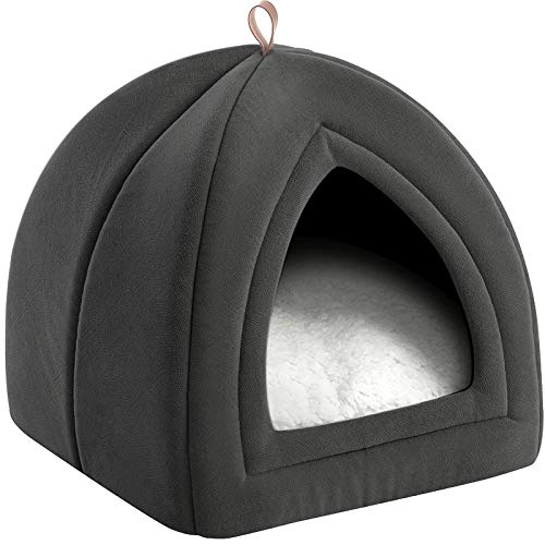 Bedsure Pet Tent Cave Bed for Cats/Small Dogs - 15x15x15 inches 2-in-1 Cat Tent/Kitten Bed/Cat Hut with Removable Washable Cushioned Pillow - Microfiber Indoor Outdoor Pet Beds, Dark Grey