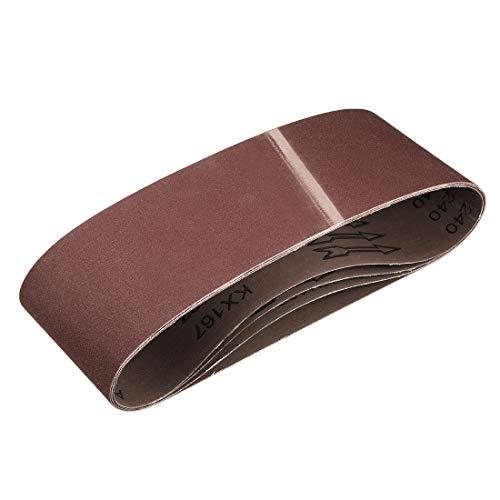 sourcing map 4' x 24' 240 Grit Sanding Belt Aluminum Oxide Sandpaper Belts for Portable Strip Sander Wood Finishing Metal Drywall Polishing Sharpening Abrasive Paper 4pcs