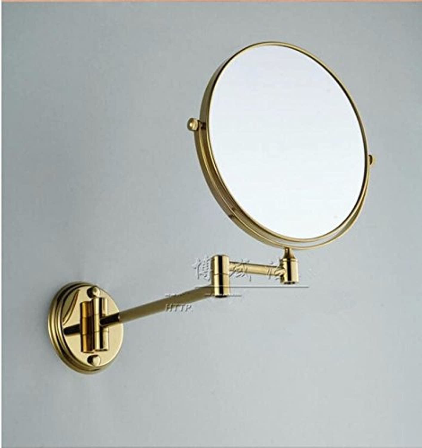 golden copper mirror wall mount bathroom vanity mirror double-sided folding Magnifier Zoom lens-8 inch Titanium gold