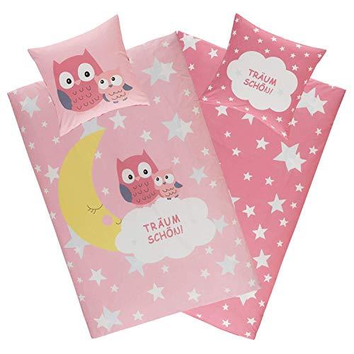 Aminata Kids Bettwäsche Eule 135x200, 80x80 cm Mädchen Baumwolle rosa mit YKK Reißverschluss - Wende Kinderbettwäsche - Wende-Kinder-Bettwäsche-Set - Mond und Sterne pink - Eulen-Motiv